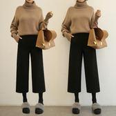 毛呢寬管褲女秋冬季新款顯瘦高腰直筒韓版學生寬鬆墜感九分褲