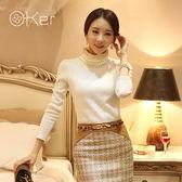 O-Ker 正韓薄款細毛線針織蕾絲繡花長袖上衣 VE7583-C