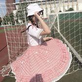 夏季新款女裝少女可愛格子裙子綁帶背帶裙松緊腰短裙連衣裙潮【大咖玩家】