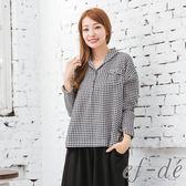 【ef-de】漢神春夏 都會風格紋開襟排釦寬版襯衫(黑)