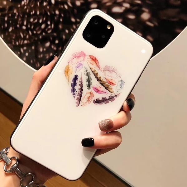 iPhone 11 Pro Max 手機殼 i11 民族風 玻璃殼 清新藝術 個性創意 簡約 保護殼 保護套 手機套