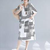 絲麻 簡約線條洋裝-大尺碼 獨具衣格