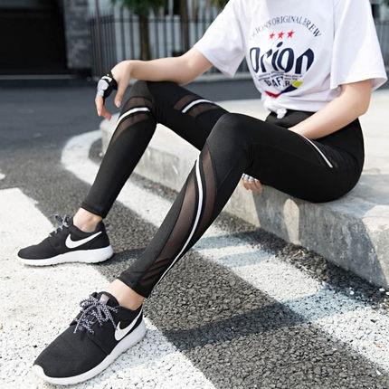 網紗速幹運動打底褲瑜伽褲女夏緊身薄款健身褲大碼外穿跑步彈力褲