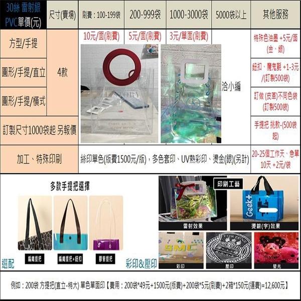 客製化 皮革 (小號-圓形提把) LOGO 透明袋 PVC 手提袋 網紅袋 購物袋 廣告袋 飲料袋 防水袋【塔克】