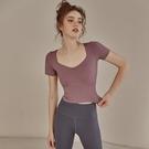 運動上衣 專業瑜伽服女緊身性感顯瘦健身上衣高端衣服夏天運動短袖t恤-Ballet朵朵
