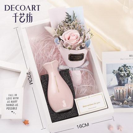 皂花花束 感恩節禮品干花裝飾擺件帶瓶玫瑰花束生日禮物盒永生花送閨蜜女友 3色