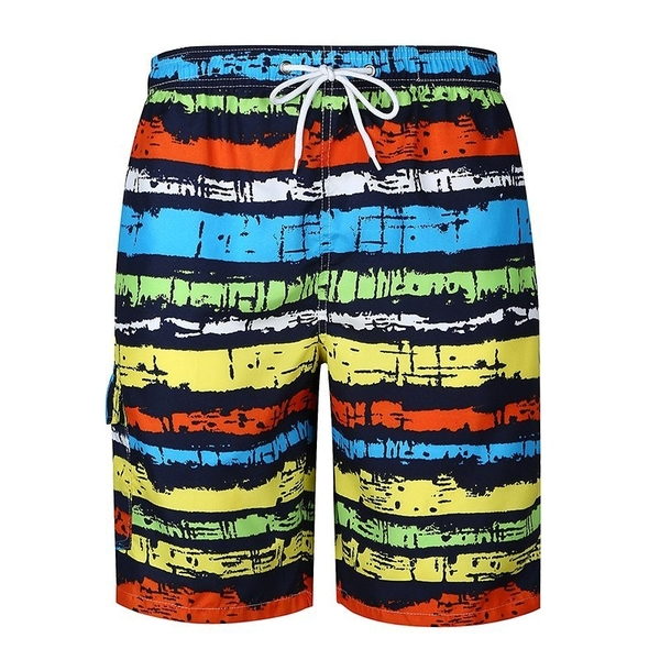 FINDSENSE H1 2018 夏季 新款 彩色 條紋 沙灘褲 休閒褲 大碼