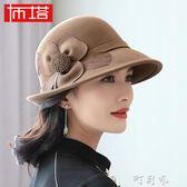 布塔帽子女秋冬季 韓版大檐羊毛呢帽 女英倫禮帽保暖氈帽可調節 盯目家