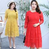 ★韓美姬★中大尺碼~甜美蕾絲鏤空長袖洋裝(XL~4XL)