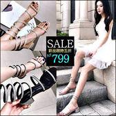 克妹Ke-Mei【ZT46227】歐洲站 女神渡假十分亮鑽繞踝露指涼鞋