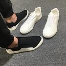 休閒男鞋 夏季帆布鞋男韓版潮流百搭懶人鞋一腳蹬不系帶時尚小白鞋休閒鞋潮