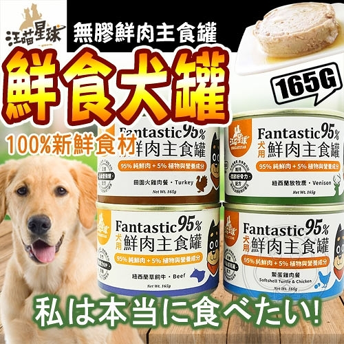 【ZOO寵物樂園】汪喵星球》犬用FANTASTIC 95%鮮肉無膠火雞/鱉蛋主食罐-165g