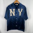 BRAND楓月 GUCCI GG 古馳 534177 藍色絲質 NY洋基 短袖襯衫 #46 上衣 罩衫 外搭 潮流