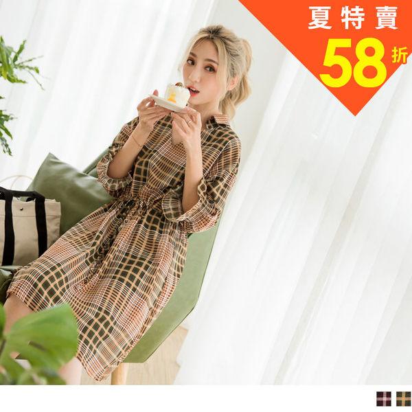 《DA6303》雪紡格紋綁帶鬆緊腰抽繩V領七分袖洋裝 OrangeBear