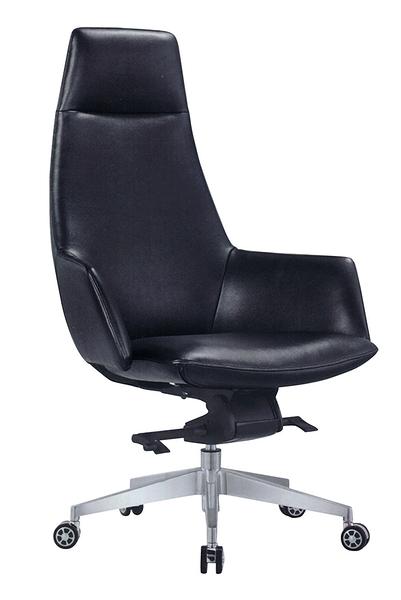 641-3大型黑皮主管椅 / 辦公椅-懸背-烤銀腳