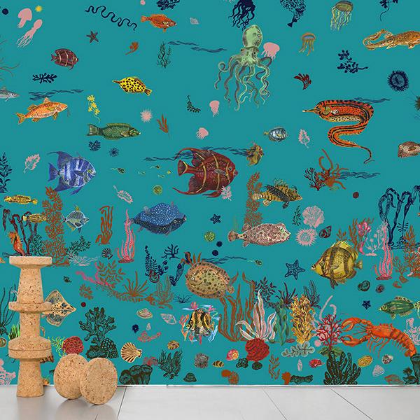 【進口牆紙】Domestic【訂貨單位372cm×3m/套】海底法國娜塔麗Sous la Mer Blue Nathalie LeteNDL058