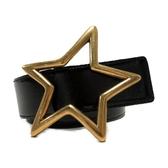 YVES SAINT LAURENT 聖羅蘭 黑色漆皮金色星星扣頭腰帶 Srat Belt-80cm 【BRAND OFF】