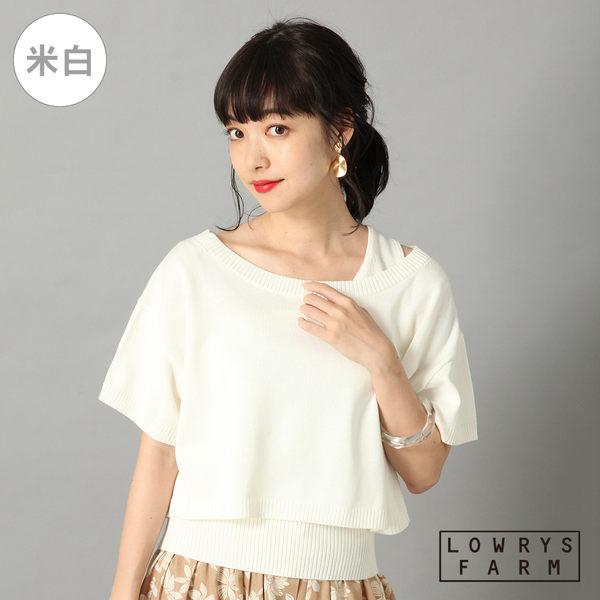 LOWRYS FARM素色細針織單肩兩件式棉質上衣-三色