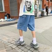 工裝牛仔短褲男寬鬆夏季休閒薄口袋五分褲百搭褲子【繁星小鎮】