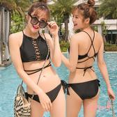i PINK 邁阿密女郎 泰國製削肩交叉線條繞繩美背兩件式泳衣M-L(黑)