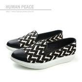 HUMAN PEACE 皮革 舒適 好穿脫 懶人鞋 戶外休閒鞋 黑色 女鞋 no345