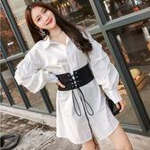 襯衫裙女白色高腰帶寬鬆連身裙燈籠袖收腰長袖中長款吾本良品