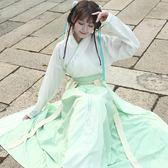 改良式漢服女裝長袖交領 繡花半臂 一片式襦裙三件套唐裝