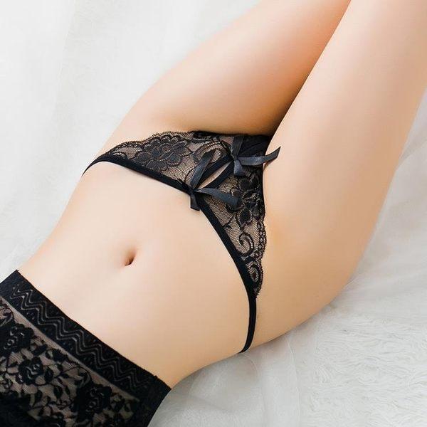 情趣內褲 性感蕾絲面料情趣開檔丁字褲女士低腰透明露毛騷t褲少女火辣內褲 霓裳細軟