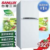 【SANLUX台灣三洋】192L雙門冰箱。銀灰/SR-B192B3