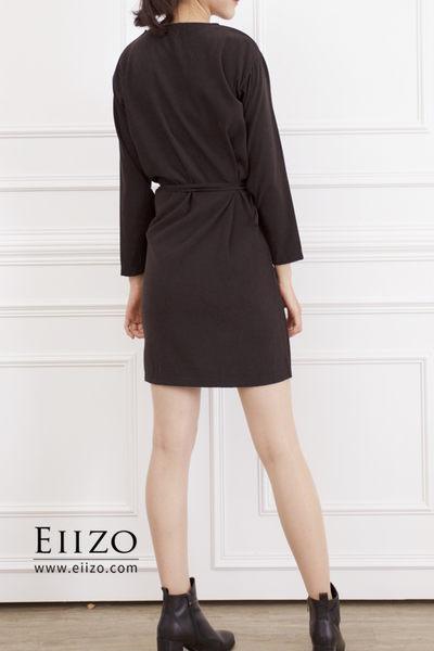 【EIIZO】簡約綁帶寬鬆棉質洋裝(深灰)