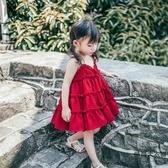 女童連身裙夏裝雪紡沙灘公主吊帶裙寶寶裙子【時尚大衣櫥】
