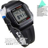 CASIO卡西歐F-201WA-1A 電子錶 方形 黑色橡膠 32mm 男錶 運動錶 學生錶 時間玩家 F-201WA-1ADF