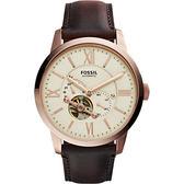 FOSSIL Townsman 爵士小鏤空機械腕錶/手錶-米x玫瑰金框/44mm ME3105