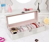高檔手錶盒子 歐式皮革佛珠手飾收納盒 透明玻璃展示首飾盒帶鎖 向日葵