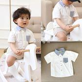 男嬰短袖襯衫 嬰童新品學院風拼色翻領寶寶襯衫全棉短袖嬰兒襯衣男童 珍妮寶貝