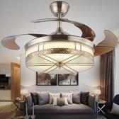 吊燈扇 LED隱形吊扇燈歐式仿古銅客廳餐廳家用折疊電扇燈帶風扇吊燈110Vigo 夢藝家