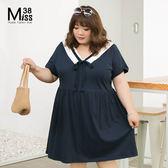 Miss38-(現貨)【A05642】大尺碼短袖洋裝 學院風海軍V領 深藍純棉連身裙 寬鬆顯瘦-中大尺碼女裝