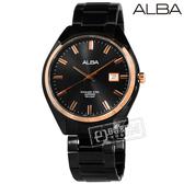 ALBA / VJ42-X250K.AS9F82X1 / 雅痞時尚 藍寶石水晶玻璃 日期 不鏽鋼手錶 玫瑰金框x鍍黑 42mm