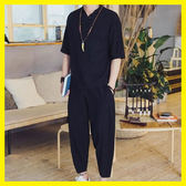 亞麻短袖套裝男士民族風禪修居士服中國風中式漢服唐裝t恤兩件套 居享優品