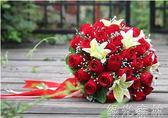 捧花 韓式新娘手捧花緞帶手捧花婚禮手捧花仿真玫瑰花攝影婚禮手捧花 綠光森林