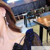 銀針超仙水晶蝴蝶氣質長款流蘇耳環女韓國個性網紅耳釘耳飾品 韓慕精品
