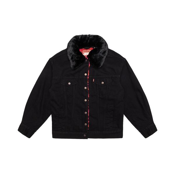 Levis 女款 牛仔外套 / Oversize寬鬆版型 / 內鋪毛 / 紅迷彩Sherpa / 可拆式毛領