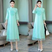 中國風洋裝復古女刺繡長款仿真絲連身裙改良式旗袍洋裝