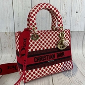 BRAND楓月 CHRISTIAN DIOR 迪奧 七夕限定 刺繡 紅點點 LADY DIOR 手提包 斜背包