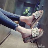 拖鞋 珍珠厚底鬆糕拖鞋韓版時尚外穿一字拖平底外出涼拖鞋女夏新款 coco衣巷