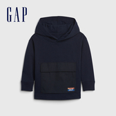 Gap男幼童 活力亮色刷毛針織連帽休閒上衣 617800-海軍藍