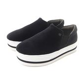 Petite Jolie 學院派絨布厚底休閒鞋-黑色