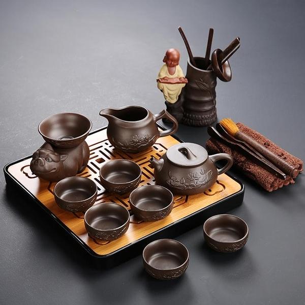 宜興原礦紫砂功夫茶具套裝整套陶瓷家用簡約儲水干泡台辦公室茶盤 聖誕節全館免運HM
