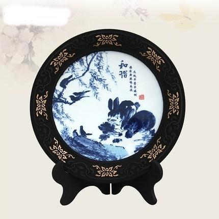 CH086─炭雕陶瓷工藝品擺件和諧中國傳統特色水墨畫裝飾品送外國友人禮品(普配)