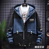 外套男2020春秋季新款韓版潮流帥氣青少年寬鬆工裝上衣薄牛仔夾克『潮流世家』